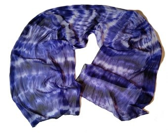 Hand Dyed Purple Passion Silk Chiffon Scarf 22 x 90