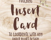 ADD ON: Matching Insert Card to coordinate with any Paper Heart Design - Design file