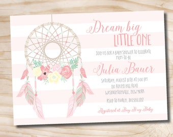 Dreamcatcher Baby Shower Invitation, boho, Navajo, Aztec, shabby chic invitation  - Printable Digital file or Printed Invitations