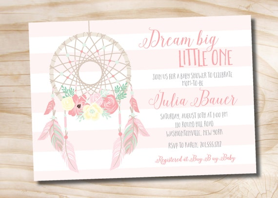 Dreamcatcher Baby Shower Invitation Boho Navajo Aztec Shabby