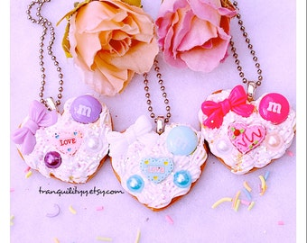 Cookie Necklace , Decoden White  Whipped Frosting Sugar Cookie, Clay Cookie Necklace ,Birthday, Teens, Girls , Handmade By: Tranquilityy