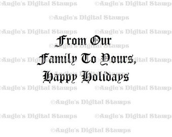 From Our Family Quote Digital Stamp Image