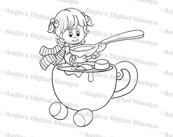 Little Lila Drinking Cocoa Digital Stamp Image