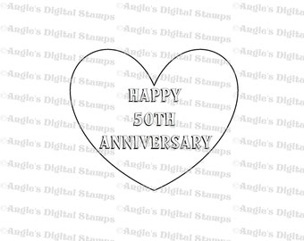 Happy 50th Anniversary Quote Digital Stamp Image