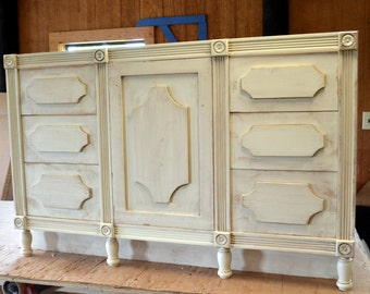 French Shabby Chic IVORY SINGLE Bathroom Vanity Six Drawers One Door