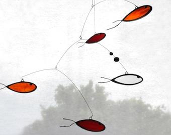 Suncatcher,Stained glass suncatcher,Fish suncatcher,Red mobile,Orange mobile,Fish mobile,Nursery mobile,Kids room decor,En Bleu et Verre