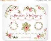 Floral Clip Art | Wedding Clip Art | Wedding Graphics | Wedding Wreath Clip Art | Vintage Valentine Flowers | Hand Drawn Wedding Flowers