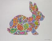 Rabbit Bunny Paisley Pink Purple Blue Original Colored Pencil Drawing Illustration Children's Decor OOAK