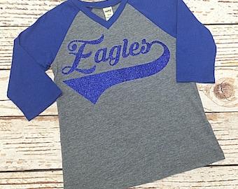 Girls Raglan Shirt- Baseball Shirt- Eagles Shirt- Toddler Girls Raglan Shirt- Game day shirt- Mommy and Me shirt- Team spirit shirt