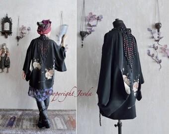 RESERVED , Haori, Black Haori, black silk jacket, wearable art, Beaded Jacket, embroidered jacket, Kimono jacket, unique jacket, peony haori