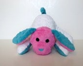 Minky Puppy Stuffed Animal - Minky Scrap Puppy - Small hot pink teal - Ready to Ship