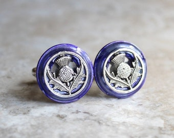 purple Scottish thistle cufflinks, Scottish cufflinks, wedding jewelry, best man, mens jewelry, fiance gift, groom cufflinks, unique gift