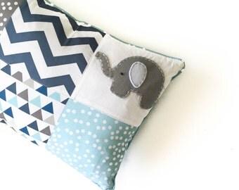 Elephant Patchwork cushion cover - blue