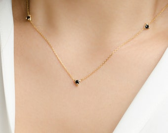 Dainty Black Zircon Necklace, Sterling Silver & Gold Plated, Simple Minimal Necklace, Everyday Necklace, Layering Necklace,  NCK002