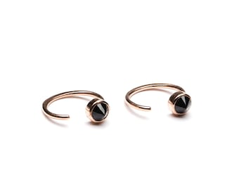 Tiny Black Spinel Hug Hoops, Sterling Silver Gold Plated, Hugging Hoop Earrings, Open Hoops, Minimal Lunaijewelry, Handmade Gift, EAR030BSP
