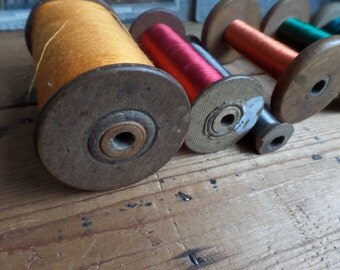 Old french spools  set of 6 spools bobbins with silk thread