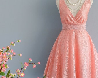 My Lady II - Coral Peach Lace Dress Vintage Dress Spring Summer Sundress Coral Lace Party Tea Dress Bridesmaid Dress Lace Summer Dress XS-XL