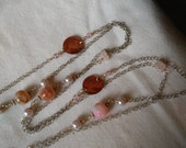 45 Inch Wrap Around Chain Necklace with Mussel Shell, Semi-Precious Gems and Glass Pearls