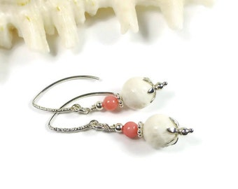 Beachy Coral Earrings, Sterling Silver, Summer Jewelry, White Coral, Pink Coral, Organic Gemstone