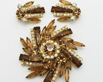 Vintage Juliana D and E Pinwheel Brooch and Earrings