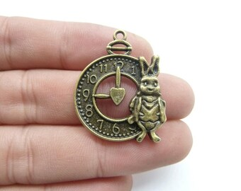 10pcs 25x31mm Antique Bronze Alice Rabbit Bunny White Rabbit Watch Charm Pendant c8287