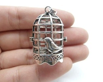 2pcs 21x37mm Antique  Silver Lovely High Quality Brass Filigree Bird Cage Locket Wish Box Magic Box Charm Pendant c8313