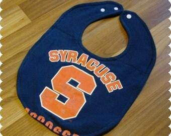 Syracuse Sports Baby Bib, Recycled T-Shirt Baby Bib, Syracuse New York, Syracuse University, Gender Neutral Baby Shower Gift