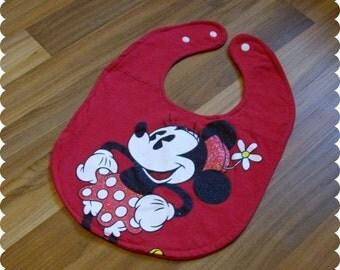 Minnie Mouse Baby Bib, Recycled T-Shirt Bib, Glitter, Disney Baby Shower, Baby Girl Gifts