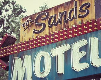 Old Motel Sign, The Sands Motel Art Photography Print, Bedroom Wall Art