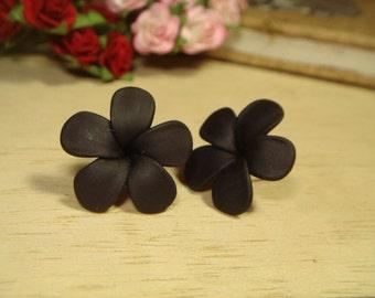 Sweet Black Plumerias Frangipani Stud/Post Earrings