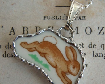 Fiona & The Fig Royal Doulton Leaping Bunny  Broken China Soldered Necklace Pendant Charm - Jewelry