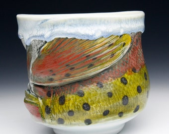 RainbowTrout Mugs Fish Cups Japan Nature Fine Art Decor New Glaze Combination Cone 10 Food Safe Microwavable