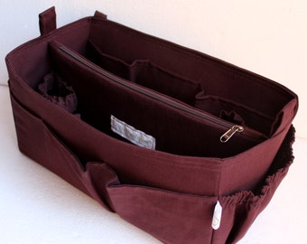 Diaper Bag organizer insert -Extra Large Purse organizer for Louis Vuitton Neverful MM in Coffee brown fabric