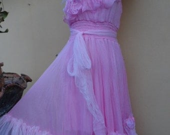 """20%OFF vintage inspired sweet pink dress with ruffles of netting and shabby roses...smaller to firmer 36"""" bust"""