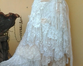 "20%OFF wedding bohemian boho gypsy lagenlook OAK shabby wrap skirt...42"" across plus ties."