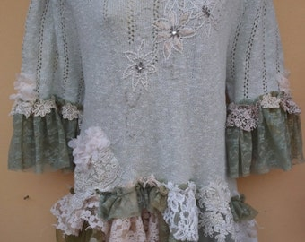 "20%OFF bohemian gypsy lagenlook OAK boho pale mint knit cotton top..large to 48"" bust..."