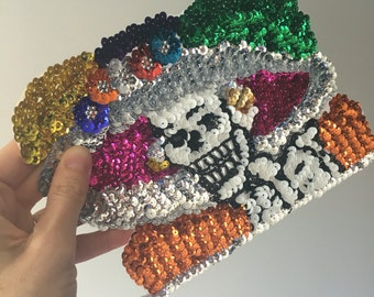 Mexican catrina skeleton day of the dead skull lady applique medium Sequin Patch for sewing crafting collage artwork / Bead applique