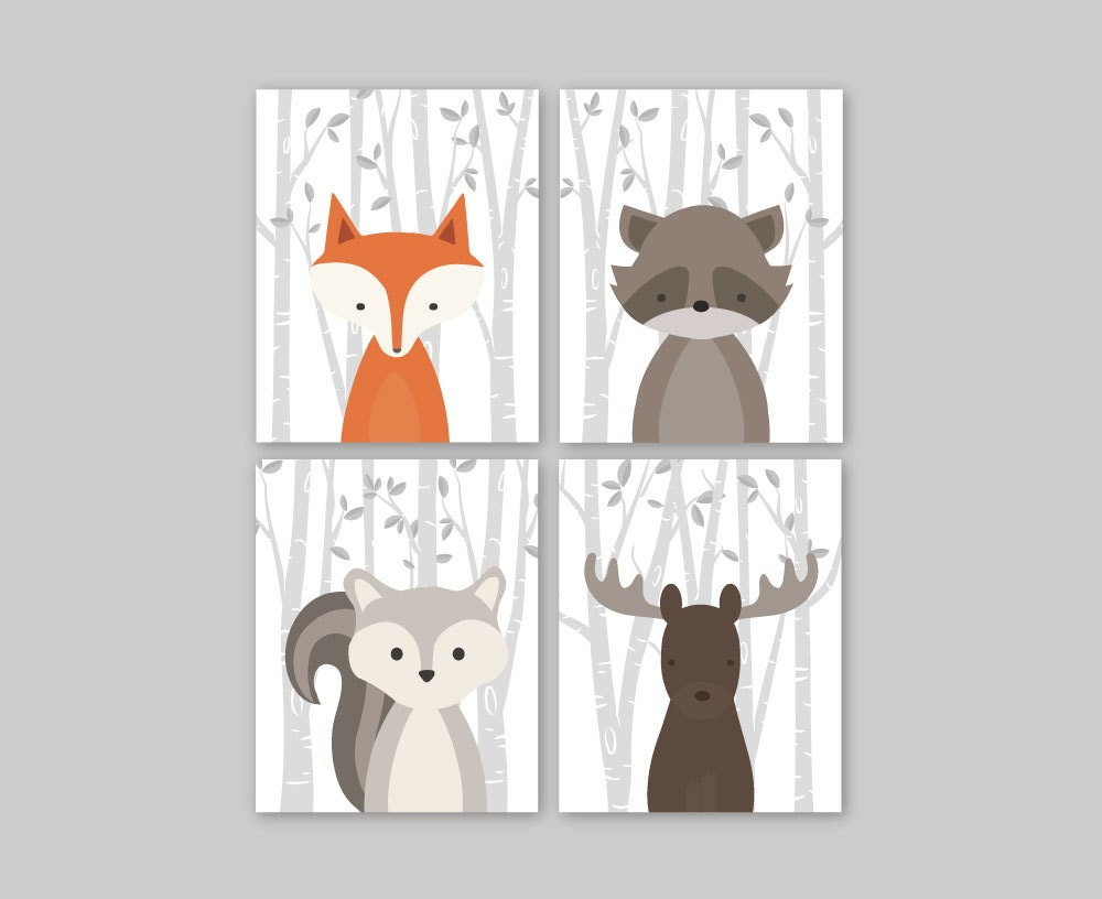 Woodland Nursery Wall Decor : Baby nursery decor wall art woodland