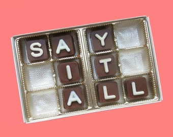 Personalize 12 pc Milk Chocolate Cube Letters WHITE COCONUT Jelly Bean Unique Fun Gift for Him Men Women Her Ak Apo International Shipping