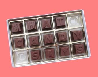 Personalize Gift Her Him Men Boyfriend Girlfriend Gift Fun Graduation Gift Idea Birthday Anniversary Cute 15pc Milk Chocolate Message Letter
