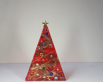Red Swirl and Gold Foil Swirl Christmas Tree Light