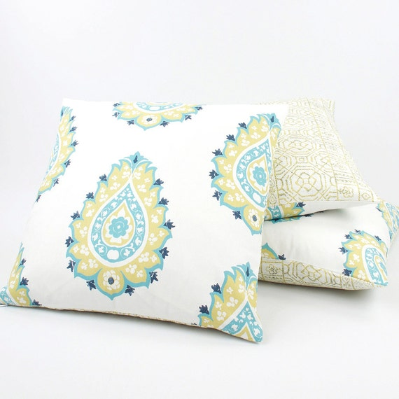 Yellow and Blue Reversible Pillow Cover by ChloeandOliveDotCom