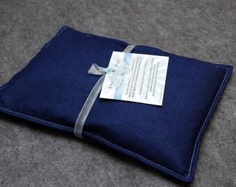 Corn Bag Microwave Heating Pad  -- Navy Dot, pillow 10x14