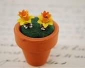 flower stud earrings-flower earrings in a mini pot-flower earring posts-daffodils-pink rose earrings-gift for her-rose earrings-birthday