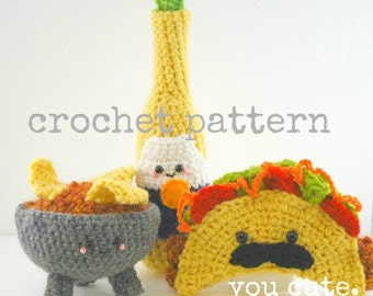 CROCHET PATTERN- Amigurumi Taco Shop Trio