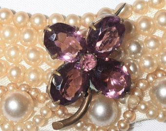 Victorian Amethyst Miniature Flower Brooch, Small Lapel Pin, Purple and Brass, 1890s Antique Pin, Small, Petite Four Leaf Clover