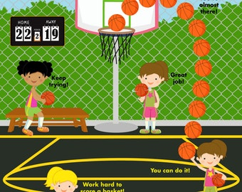 PRINTABLE PERSONALIZED Incentive/Reward Behavior Chart - Basketball Girls