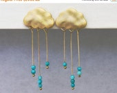 20 off. Rain Cloud Earrings. English Rain Cloud Earrings. Stud Post Gold Earrings With Tiny Dangling Turquoise Rondelle Rain.