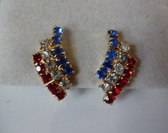 Red White and Blue Rhinestone Vintage Clip Earrings