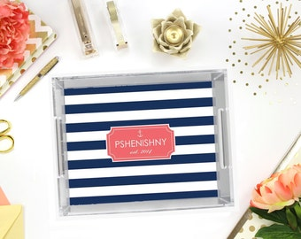 Personalized Lucite Tray - 3 Sizes - Nautical Acrylic Tray, Desk Tray, Vanity Tray - New Couple Gift- Beach Home - Hostess Gift
